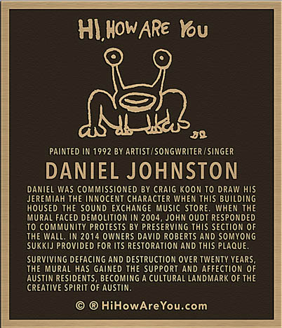 Daniel johnston mural in austin to receive a bronze plaque for Plaque recouvrement mural